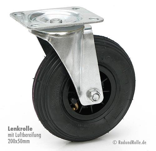 Bockrolle 200 mm Luftbereifung mit Kunststoff-Felge
