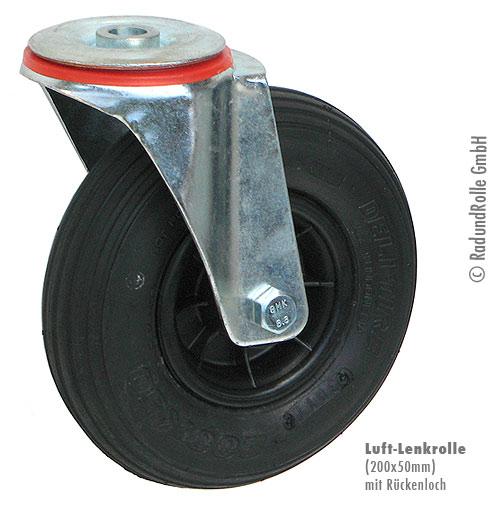 Lenkrolle 210 mm Luftrad mit Stahlfelge