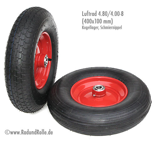 Schubkarrenrad Rad Luftrad Schubkarre 4.80//4.00-8 Stahlfelge 100mm Breite