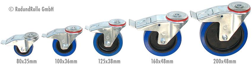 Transportrolle 80x35mm blau Lenkrollen Rolle Rollen Vollgummi Polyamid Rad